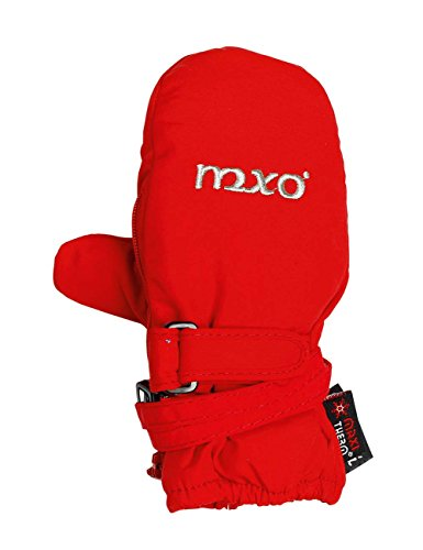maximo Mädchen 38303-625800, Thermofausthandschuh, Reißverschluss, Stickerei mxo Fäustlinge, Rot (Rot 2), 3