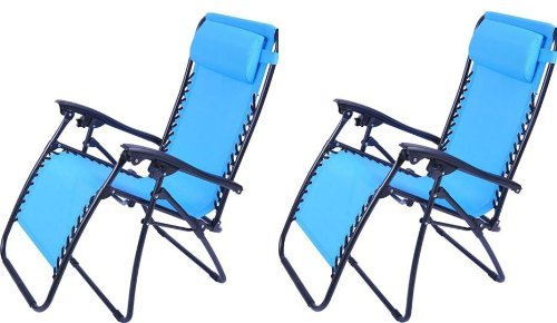 Outsunny Zero Gravity Recliner Lounge Patio Pool Chair - 2 Pack - Light Blue