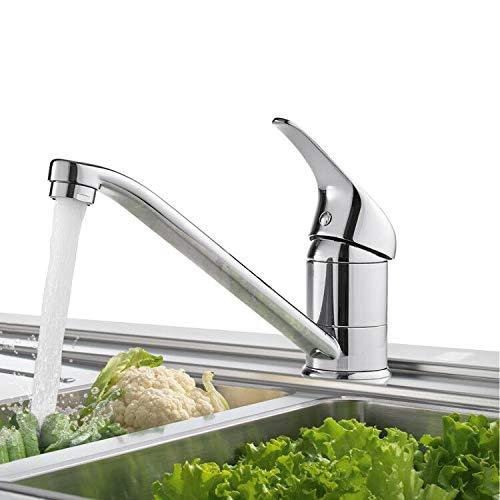 BONADE Grifo de Cocina Giratorio 360° Grifo para Fregadero Grifo de Latón Cromado Grifo Cocina Monomando Grifo Mezclador de Agua Fría y Caliente