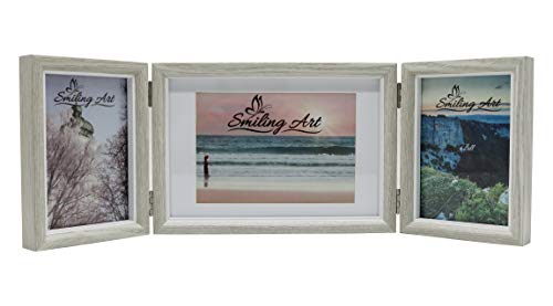 Smiling Art klappbarer Bilderrahmen für 3 Fotos in Querformat und Hochformat (Hellgrau, 2x10x15 cm + 1x13x18 cm)
