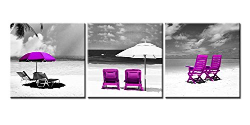 Canvas Print Wall Art Painting For Home Decor Black White Purple Tropical Beach Landscape Vacation Chairs Umbrella Palm Tree 3 Pieces Modern Giclee Stretched Framed Artwork The Picture Seascape Photo