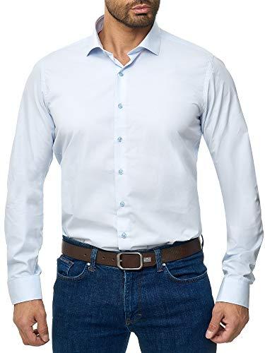 BARBONS Herren-Hemd - Bügelleicht - Tailord-Fit - Langarm-Hemd für Business Freizeit Büro - A - Hellblau (ÄL72) 3XL (47-48)