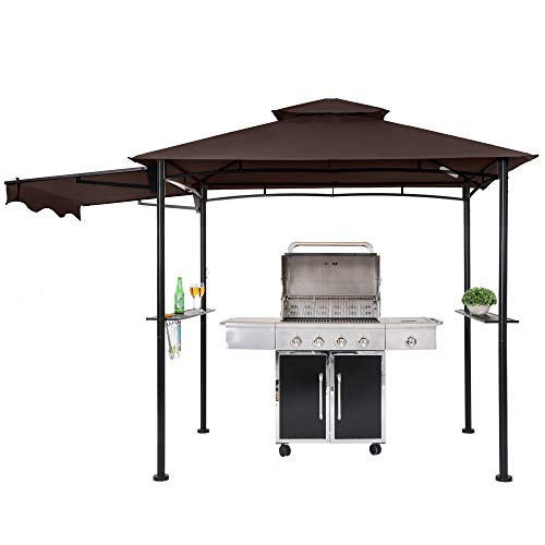 FAB BASED 8x5 Grill Gazebo, Outdoor BBQ Grill Patio Canopy, Barbeque Gazebo Canopy with Extra Shadow & 2 LED Lights