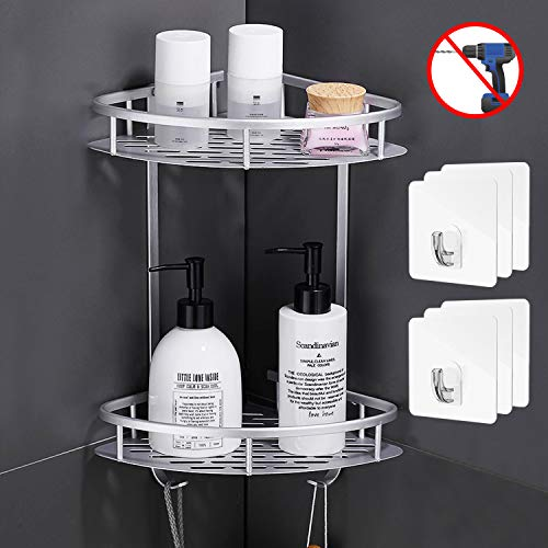 Flowmist 2 Tiers Corner Shower Caddy, Shower Organizer, Wall Mounted Aluminum Shower Shelf with Adhesive(No Drilling), Storage Rack for Toilet,Shampoo,Dorm and Kitchen