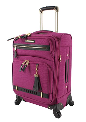 Steve Madden Designer Luggage Collection - Lightweight Softside Expandable Suitcase for Men & Women - Durable 20 Inch Carry On Bag with 4-Rolling Spinner Wheels (Peek-A-Boo Purple)