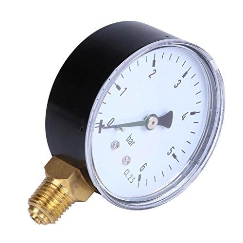 MagiDeal Manometer, Anschluß unten Gewinde 1/4\'\' NPT Seiten aufbau 2.3\'\'Face 6 Bar Druckmesser z.B. für Druckminderer, Wasserfilter, Druckanzeiger, Druckanzeige