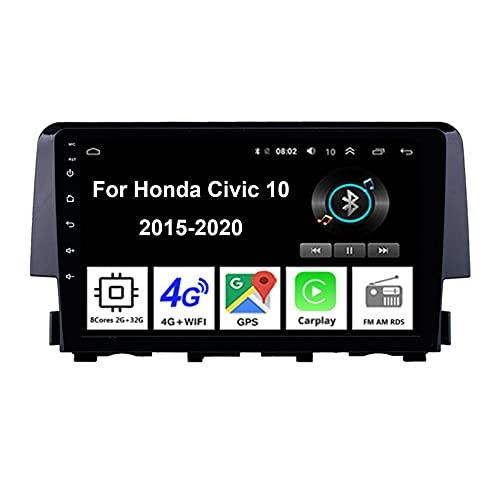Android Autoradio Car Stereo Radio De Coche Pantalla Tactil Coche GPS Navegación Para Honda Civic 10 2015-2020 Conecta Y Reproduce Cámara De Respaldo Estéreo De Coche Audio FM/Am/RDS