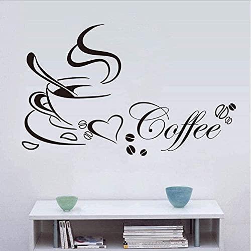 Café de moda cocina gourmet arte pegatinas de pared DIY vinilo decoración del hogar restaurante bar papel tapiz impermeable extraíble 58X30Cm