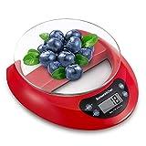 Bonsenkitchen Balance de Cuisine Numérique Balance Alimentaire Électronique de Haute Précision avec Fonction de Tare, Affichage LCD et Retrait du Plateau en Verre, 5kg/11Lb,Rouge(KS8802)