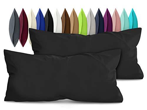 npluseins 2er Pack Baumwoll Kissenbezug - Jersey - viele Farben 1331.1812, ca. 40 x 80 cm, schwarz