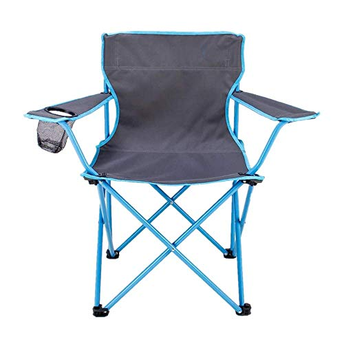 Portable Folding Chair with Armrest Cup Holder and Storage Bag for Transport and Travel, Best Durable Outdoor Quad Beach Chairs, Sky Blue