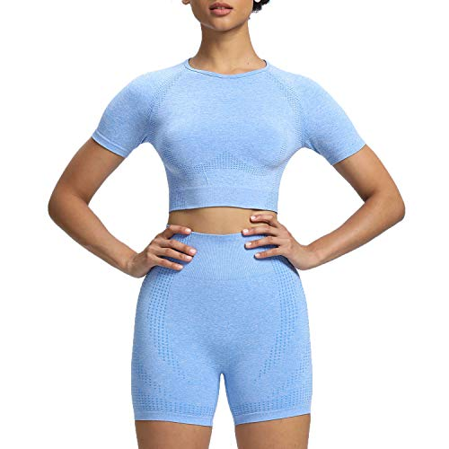 Aoxjox Yoga Outfit for Women Seamless 2 Piece Workout Gym Vital High Waist Shorts with Short Sleeve Crop Top Set (Sky Blue Marl, Medium)