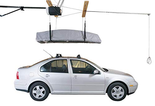 HARKEN Cargo Box Garage Storage Ceiling Hoist | 4 Point System | 6:1 Mechanical Advantage | Easy Lift, Single-Person Operation, Rooftop, Hanger, Pulley, Carrier