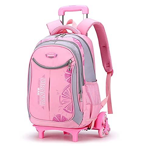 Mochila infantil con ruedas, gran capacidad, ergonómica, escuela primaria, desmontable con ruedas, puede subir escaleras, ZJ666 (color: rosa)
