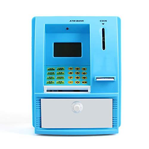 ZAKRLYB Smart Piggy Bank con Contraseña de Voz LED Reloj de Alarma Plastic Links Peggy Herk para almacenar Papel Dinero y Monedas Gran Capacidad Adecuada para Regalos de hogar (Azul)