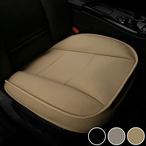 LUOLLOVE Coprisedile Universale Auto Anteriori Super Soft Confortevole Traspirante PU Protezione per Sedile Auto (1 Pezzo Beige)