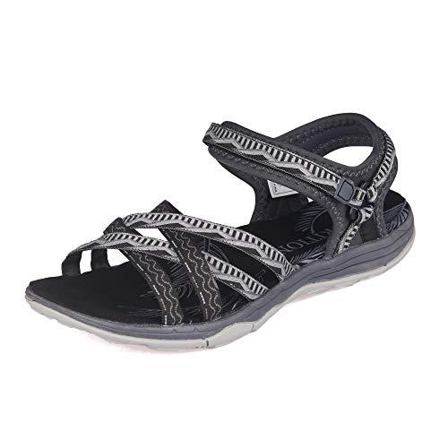GRITION Sandalias Senderismo Mujer, Niñas Deportes Zapatos de Agua Verano Sandalias Planas Cruzadas Punta Abierta Zapatos de Caminar Ajustables Negro Rosa Arena Gris (41, Gris Oscuro)