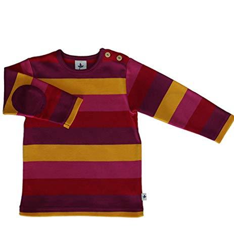 Leela Cotton Baby Kinder Langarmshirt Ringelshirt Bio-Baumwolle GOTS T-Shirt Shirt Jungen Mädchen Gr. 50/56 bis 128 (86/92, gelb-rot-pink)