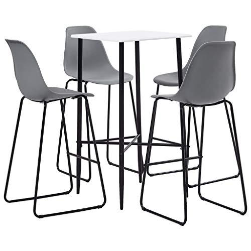 Festnight 5 Piece Bar Set, Garden Furniture Set, Dining Set for Living Room Garden Bar Pub Restaurant Plastic Grey