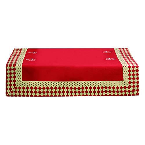 Winkler - Nappe - Nappe carrée - Nappe 100% Coton - Nappe entretien facile - Nappe antitache - Nappe table salon - 90 x 90 - Rouge - Rosa