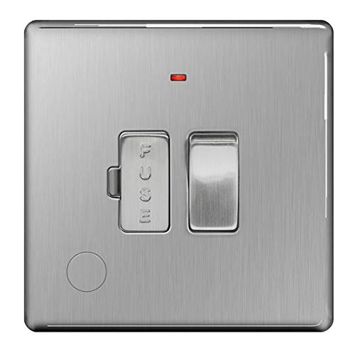 BG Electrical FBS53 Screwless Flat Plate Switched Fused Connection Unit with a Power Indicator and Cable Outlet, Brushed Steel, 13 Amp