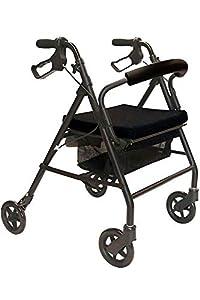 KMINA - Deambulatore per anziani, Deambulatore 4 ruote pieghevole, Deambulatore con seduta, KMINA COMFORT Nero - Freno a mano