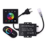 xunata touch control rf remote & panel for rgb led strip/neon light/rope light, 220v 1500w led controller transformer power adapter eu plug
