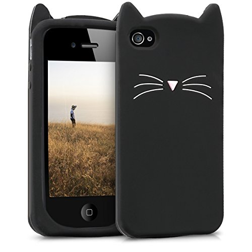 kwmobile Schutzhülle kompatibel mit Apple iPhone 4 / 4S - Hülle Handy - Handyhülle - Silikon Cover Hülle Katze Schwarz Weiß