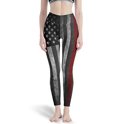 LPLoveYogaShop Frauen Leggings Vintage Amerikanisch Flagge Rot Streifen Grafik Sport Dünne Gamaschen Freizeitstrumpfhosen für Pilates Gym White XL