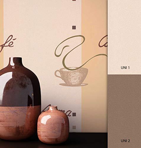 NEWROOM Tapete Beige Bohnen Schrift Vliestapete Vlies moderne Design Optik Mustertapete Kaffee inkl. Tapezier Ratgeber