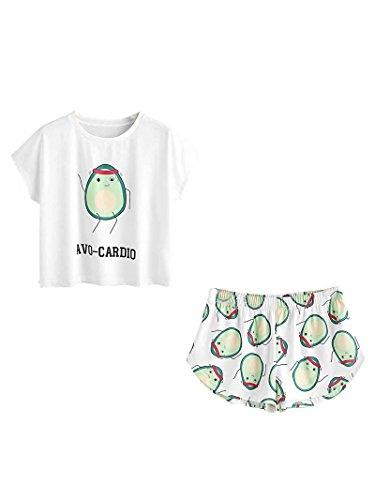 DIDK Damen Übergroß Pyjama Set mit Avocadomuster und Kordelzug ,Muster 2 - XS