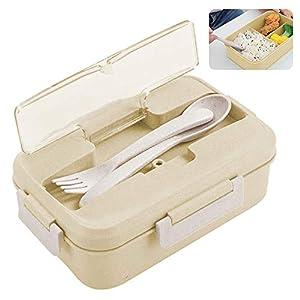 Caja de Bento, ZoneYan Lunch Box Infantil, Fiambreras con 3 Compartimentos, Cuchara Tenedor Lonchera, Fiambreras Caja de…