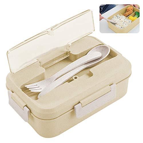 Porta Pranzo, ZoneYan Lunch Box con Posate(Forchetta e Cucchiaio), Bento Box con Scomparti Bambini, Porta Pranzo Contenitori per Microonde (Crema)