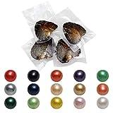 Ostras de agua dulce, 50 piezas de 7 a 8 cm, auténticas ostras redondas con perla interior en el deseo y colores surtidos de la suerte perlas redondas para regalos de aniversario para mujeres
