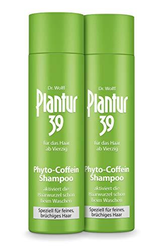 Plantur 39 Phyto-Coffein-Shampoo – speziell für feines und brüchiges Haar – Pflegeshampoo zur Vorbeugung vor menopausalem Haarausfall – 2 x 250 ml