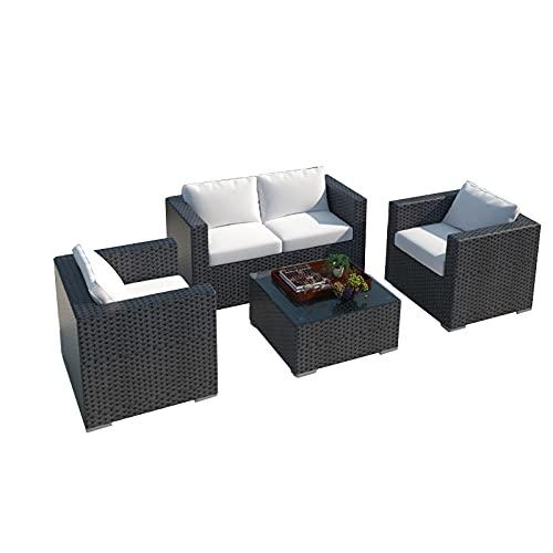 Conjunto de sofás Sofá De Ratán para Exteriores, Muebles De Sofá De Jardín De Villa Suaves Y Cómodos, Sofá De Terraza para Balcón Y Jardín Al Aire Libre(Size:Style 2)