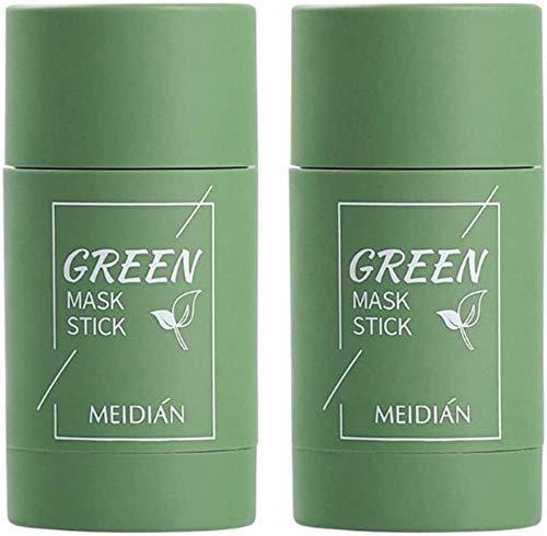 2 Stück Grüner Tee Purifying Clay Stick Mask Ölkontrolle Gesichtsmaske, Stick Deep Cleansing Anti-Akne-Maske Fine Solid Mask Green Tea, Auberginen Mitesserentferner Gesichtsmaske Poren schrumpfen