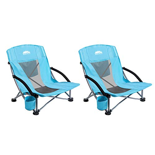 Coastrail Outdoor Folding Beach Chair with Cooler Bag, Cup Holder for Sand Camp Concert Lawn, Low Sling and Breeze Mesh Back, Portable Camping Chairs for Adults, Easily Foldable Lightweight, 2 Pack