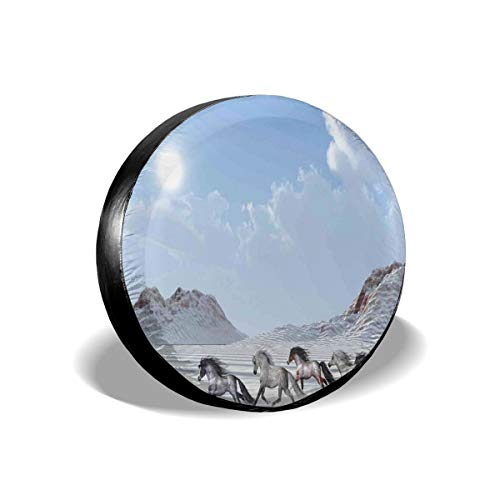 Usicapwear Tire Cover Tire Cover Wheel Covers,Herd of Wild Noble Horses Run In The Snows of A Fresh Winter Day Glorious Picture,for SUV Truck Camper Travel Trailer Accessories 15 inch