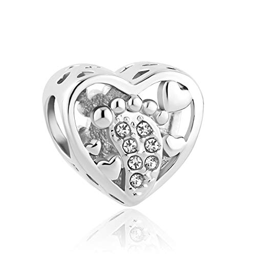 Lifequeen Jewellery Heart Love Baby Footprints Charms Beads for Bracelets