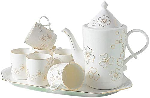 FGDSA Tea Coffee Cup Set 8 Pieces Glazed Porcelain Coffee And Tea Service With 6 Piece Cups And Tray Afternoon Tea Drinkware Coffee Set