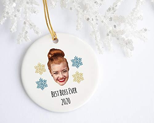 Ninguna marca de Navidad ornamento 2020 Santa Claus jefe ornamento, jefe de la cara, jefe de adorno de Navidad, divertido jefe ornamento de jefe, regalo de jefe femenino, árbol de Navidad ornamento