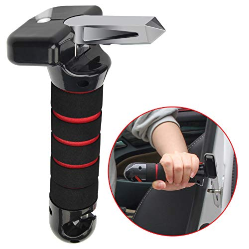 Portable Vehicle Support Handle, CoiTeK 4 in 1 Elderly Car Assist Handle Cane Vehicle Door Assist Handles with LED Flashlight Seatbelt Cutter, Window Breaker for Car