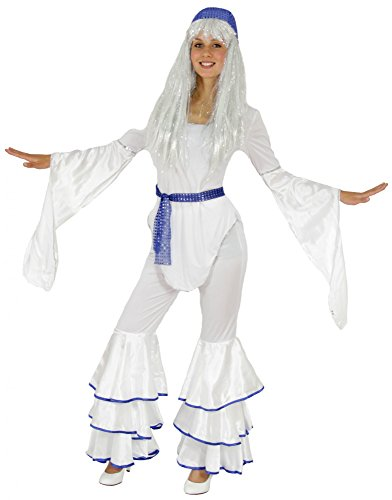 Foxxeo Traje de Discoteca Blanco de los aos 70 para la Fiesta de Carnaval de Damas, tamao: S