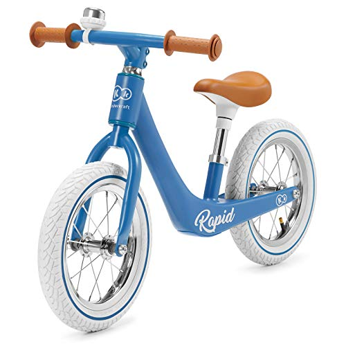 Kinderkraft Laufrad RAPID, Lernlaufrad, Kinderlaufrad, Lauflernrad für Kinder, Kinderrad, Fahrrad mit Zubehör, Klingel,12 Zoll Räder, Magnesiumrahme, ab 3 Jahre, Retro Design, Blau