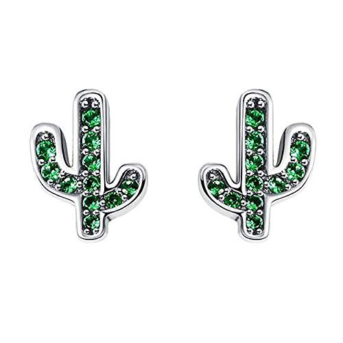 Eternalll Jewellery Cherry Blossom Charm Stud Earrings Sterling Silver with Crystal Enamel & Pink Flower Charm for Women Girls Fashion Fine Jewelry (Cactus Earrings)