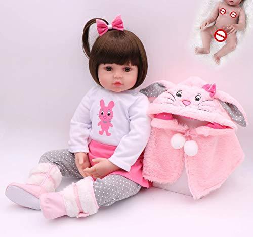Boneca Bebê Reborn Julia Bunny, 48 cm, Corpo Inteiro de Silicone Macio e Vinil,