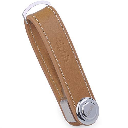 DPOB - Organizador de Llaves Compacto de Piel - Hecho de Cuero Duradero Mecanismo de Bloqueo Seguro - Llavero de diseño Inteligente y práctico - Abridor de Botellas Incluido (Brown)