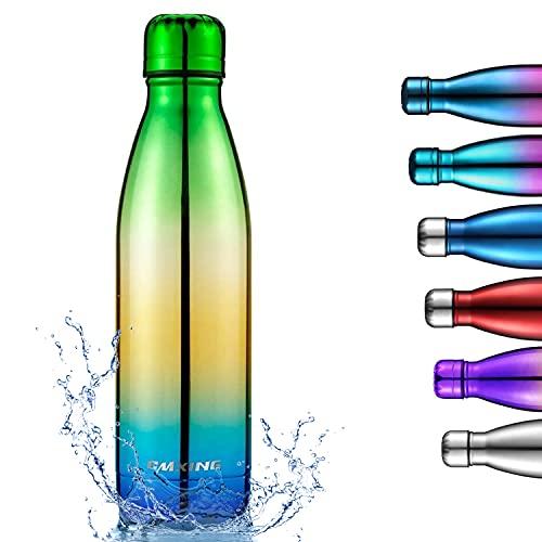 cmxing Doppelwandige Thermosflasche 500 mL / 750 mL mit Tasche BPA-Frei Edelstahl Trinkflasche Vakuum Isolierflasche (Grun+blau, 500mL)