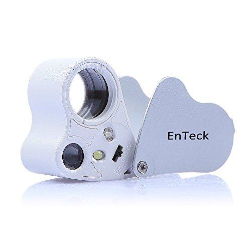 EnTeck 30X 60X Dual Lens LED Illuminated Jewelry Magnifier, Pocket Microscope Magnifying Jewelers Eye Loupe Glasses